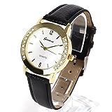 Geneva レディース ファッション ウォッチ 腕時計 ラインストーン (ブラック)
