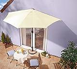Sonnenschirm beige mit Kurbel - halbrund