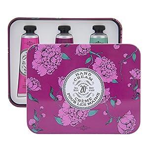 La Chatelaine 20% Shea Butter Hand Cream Tin Gift Box, Rose Blossom, Wild Fig, Winter Flower