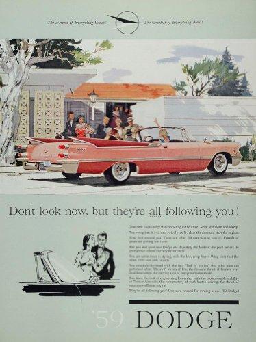 1959 Ad Dodge Pink Convertible Tail Fins Classic Car - Original Print Ad
