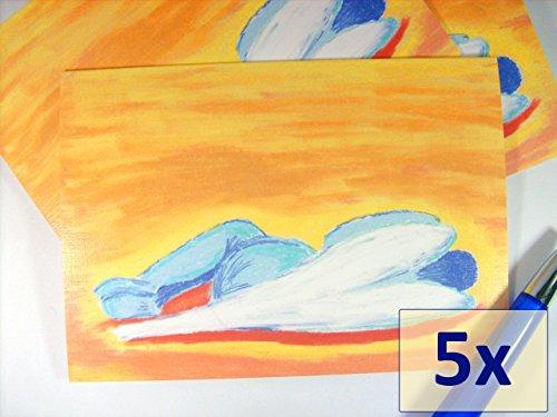 grusskarten-set-5x-schlafender-engel-auf-leinenstrukturkarton-innen-beschreibbar-kunstkarten-beileid