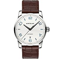 Montblanc TimeWalker Automatic Silver Dial Brown Leather Mnes Watch 110338 by MontBlanc
