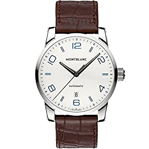 Montblanc 110338 42mm Automatic Stainless Steel Case Brown Leather Anti-Reflective Sapphire Men's Watch