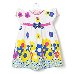 CHILDHOOD Stiched Baby Girls Cotton frocks (F-31-14_White)
