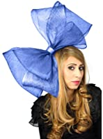 Very Large Royal Blue Sinamay Bow Fascinator Hat for Ascot / Derby With Headband