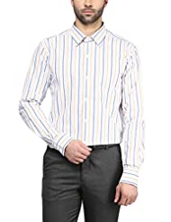 American Crew Men's Full Sleeve Stripes Shirt With Pocket (White & Multicolor Stripes)