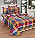 BeautifulHOMES Gorgeous Cotton Double Bedsheet With 2 Pillow Cover - Red and Gold