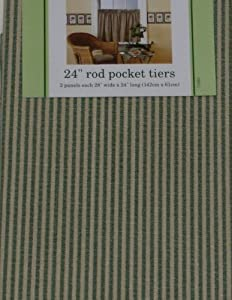 Waverly Classics Green Stripe Tier Curtains Window Curtain Pair Home Kitchen