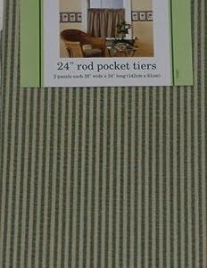 Waverly Classics Green Stripe Tier Curtains Window Curtain Pair Home Kitchen