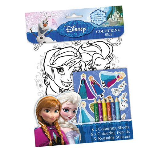 Frozen - Set 8 láminas para colorear, stick, lápices, 28 x 20 cm (Kids FNCST)
