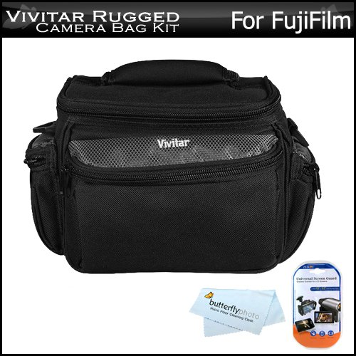 Vivitar Deluxe Rugged Camera Bag / Case For Fujifilm FinePix HS20EXR, S2950, S3200, S4000, HS20 Digital Camera + LCD Screen Protectors + MicroFiber Cleaning Cloth