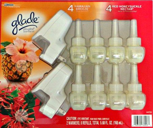 Glade 2 Warmers 8 Refills - 4 Hawaiian Breeze 4 Honeysuckle Nectar