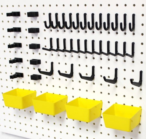 Wallpeg Complete Tool Organizer Bins & Peg Hook Kit - 10 Yellow Bins And 80 Assorted Peg Hooks Am-90Y 2 front-961274