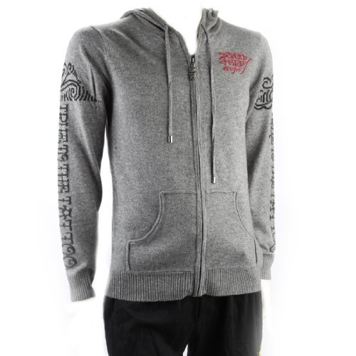 Ed Hardy Mens Love Kills Slowly And Truth To The Tattoo Long Sleeve Hoodie - Grey - Xx-Large