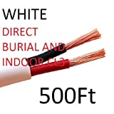 Indoor/Outdoor In Wall + Direct Burial Home Audio 14/2 Awg Gauge 500 ft CL3 Speaker Wire | Cable - Oxygen Free Copper High 105 Strand Count Vs 41 Stranded - Also Used For Low Voltage Outdoor Lighting - Made in the USA