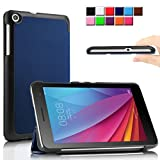 Infiland Huawei 7インチ タブレット カバーMediaPad T1 7.0 専用保護ケース 超薄型 超軽量 三つ折りスタンドカバー 高級PU レザーケース(ネービーブルー)