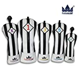CRAFTSMAN(クラフツマン)ユベントスファン向け イタリア風 ゴルフヘッドカバー レザー製 たて縞黒白 バージョンアップ (たて縞黒白 セット)
