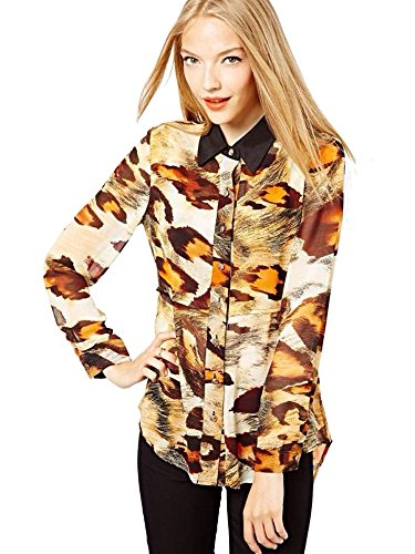 Spring Fever Women'S Dovetail Leopard Print Fitted Slimming Casual Shirt Size 0 Leopard