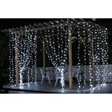 3m * 3m 300 LED Waterproof Decorative Fairy Icicle String Lights for Bedroom Wedding Party Birthday Garden Christmas Holiday Home Indoor Outdoor Club Stage Use on Wall Tree Roof Window Curtain (White)