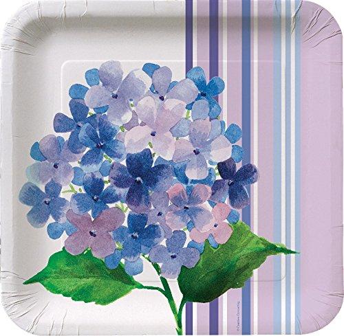 """Creative Converting 8 Count Square Hydrangea Stripe Paper Banquet Plates, 10"""", Purple"""