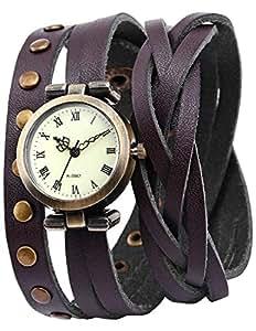 AMPM24 Montre Quartz Vintage Style Bracelet Cuir PU Rivet Rock Retro Marron -WAA341