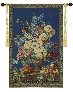 "Flowers Fruits blue Breughel 27""Wx41""L Jacquard Woven Wall Hanging Tapestry Art Decor"
