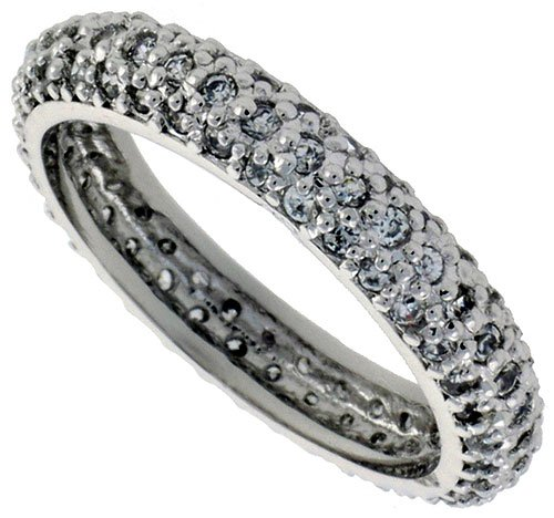 Sterling Silver Cubic Zirconia Eternity Ring Rhodium finished 1/8 inch (3.5 mm) wide, size 7