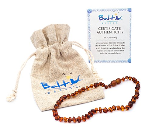 Baltic Amber Teething Necklace For Babies (Unisex) (Cognac) - Anti Flammatory, Drooling & Teething Pain Reduce Properties - Natural Certificated Oval Baltic Jewelry with the Highest Quality Guaranteed. Easy to Fastens with a Twist-in Screw Clasp Mothers Approved Remedies!
