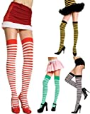 Music Legs Women's Opaque Striped Thigh Highs