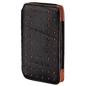 Hama High-Quality Leather Wallet Case for iPod Touch 2G - Black/Orange
