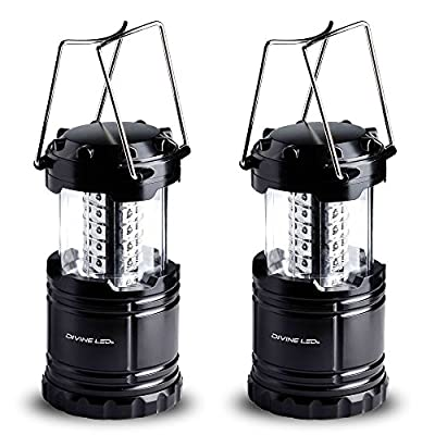 **FLASH SALE 24HRS** [Super Bright] 2 Pack LED Lantern Flashlights - Best Seller -Camping Lantern - Collapses - Suitable for: Hiking, Camping, Emergencies - Lightweight - Water Resistant - Divine LEDs