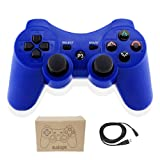 Kolopc Wireless Bluetooth Controller Compatible For PlayStation 3 PS3 Double Shock - Bundled with USB charge cord (Blue01)