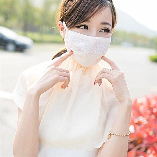 EQLEF® Ragazze Donne Sweet Summer Prevenire Uv ventilazione in maschera la protezione solare grande collo guardia Chiffon, pizzo (Beige)