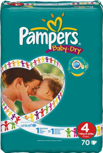 Pampers Baby-Dry Size 4 (15-44 lbs/7-18 kg) Nappies - 2 x Packs of 70 (140 Nappies)
