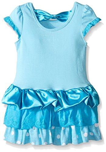 Disney Little Girls' Magical Elsa Eyelet And Satin Dress, Blue, 3T