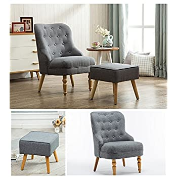 Magshion Elegant Upholstered Fabric Club Chair Accent Chair W/ Ottoman Living Room Set (Grey)