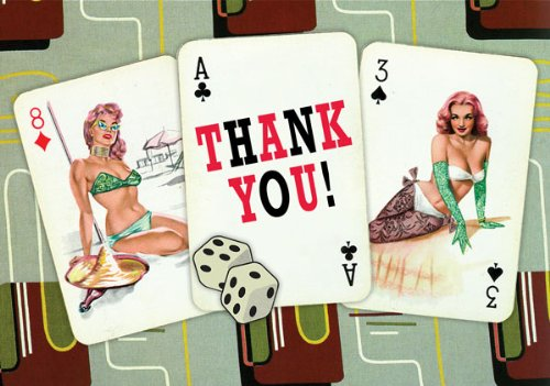 Dolce Mia Pin-up Playing Cards Thank You Card - Pack of 8 - 1