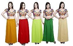 Pistaa combo of Women's Soft Cotton Mustard, Maroon, Parrot Green, Pak Green and Beige Color Best Stylish Plain Readymade Inskirt Saree petticoats