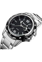 Findtime® Skone Black Mens Calendar Steel Quartz Wrist Watches
