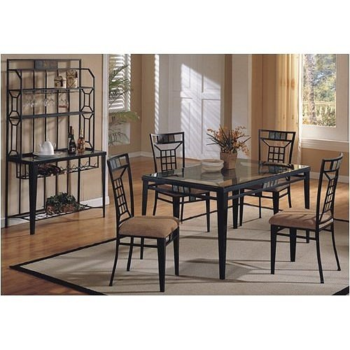 Black Friday 5 Pc Metal And Glass Dining Room Table Set With Slate Stone Inse