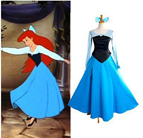 [Little Mermaid Ariel Princess Style Dress Costume] (Ariel Blue Dress Costumes)