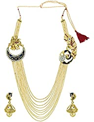 Zaveri Pearls Temple & Peacock Broach Haram Necklace Set - ZPFK5239
