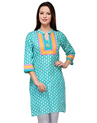 Awesome Fab Green Color Cotton Fabric Women's Straight Kurti