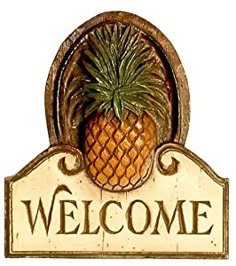 Amazon.com: Pineapple Welcome Friends Wall Plaque: Home & Kitchen