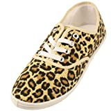 Womens Casual Flats Shoes Canvas Lace Sneakers Cool Leopard Animal Print Sz 10