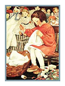 Girl Sewing Doll Clothes By Jessie Willcox