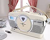 Scotts Of Stow Refurbished Retro Style CD Radio MP3 USB Player Unit System Colour Buttermilk