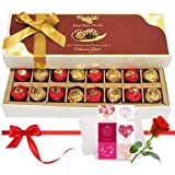 Valentine Chocholik's Belgium Chocolates - Imparting Emotions Chocolate Box With Love Card And Rose