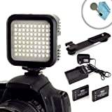 LumaBRIGHT 72 LED High-Power Light Panel with Bracket Mount and Spare Battery for Canon EOS Rebel SL1 / 100D , T5i / 700D , T4i / 650D , T3i / 600D , T3 & More Digital Cameras *Bonus Cleaning Brush & Cloth*