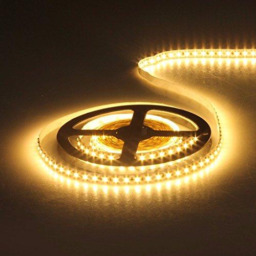 AUDEW 5m Striscia flessibile 600-3528 SMD LED non impermeabile Illuminazione decorativa per TV / Feste/ Acquario/ Costruzione/ Parete/ Sala/ Scala/ Auto/ Moto 12V Bianco caldo